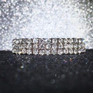 🔴SOLD Rhinestone Silver Stretch Tennis Bracelet